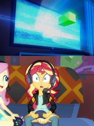 Size: 405x544 | Tagged: safe, edit, edited screencap, screencap, fluttershy, sunset shimmer, equestria girls, equestria girls series, game stream, spoiler:eqg series (season 2), clothes, controller, couch, cropped, gamershy, glitch techs, headphones, looking at you, netflix, nickelodeon, poster, sunset gamer, video game