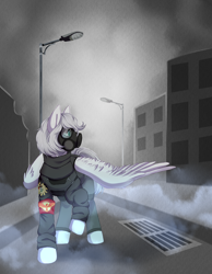 Size: 3500x4500 | Tagged: artist needed, source needed, safe, oc, oc:light knight, pegasus, armband, city, clothes, fog, gas mask, mask