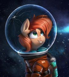 Size: 2211x2468 | Tagged: safe, artist:rexyseven, oc, oc only, oc:rusty gears, earth pony, pony, astronaut, crack, danger, female, freckles, helmet, high res, leaves, mare, solo, spacesuit