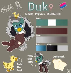 Size: 1995x2048   Tagged: safe, artist:redpalette, oc, oc only, oc:duk, pegasus, bill, bisexual pride flag, blue eyes, brown body, cute, female, pride, pride flag, reference sheet