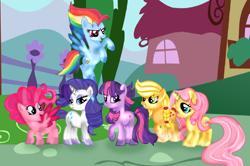 Size: 1950x1298 | Tagged: safe, artist:doraeartdreams-aspy, applejack, fluttershy, pinkie pie, rainbow dash, rarity, twilight sparkle, earth pony, pegasus, pony, unicorn, leak, spoiler:g5, applejack (g5), earth pony twilight, female, fluttershy (g5), g5, hooves, mane six, mane six (g5), mare, pegasus pinkie pie, pinkie pie (g5), race swap, rainbow dash (g5), rarity (g5), redesign, simple background, smiling, smirk, spread wings, transparent background, twilight sparkle (g5), unicorn fluttershy, wings