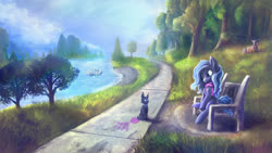 Size: 1921x1080 | Tagged: safe, artist:stdeadra, oc, bird, cat, deer, pony, swan, bench, clothes, grass, park, river, scarf, scenery, sky, tree, water