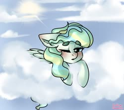 Size: 1350x1200 | Tagged: safe, artist:cottonsweets, vapor trail, pegasus, pony, blushing, cheek fluff, cloud, cute, ear fluff, female, floppy ears, mare, on a cloud, one eye closed, open mouth, prone, sky, solo, sun, vaporbetes