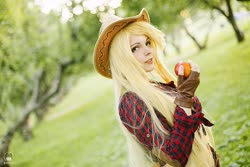 Size: 1600x1066 | Tagged: safe, artist:bizzare deer, applejack, human, apple, clothes, cosplay, costume, cowboy hat, female, food, hat, irl, irl human, photo, shirt, stetson, wig