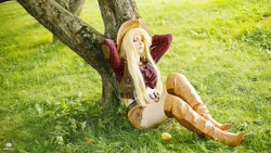 Size: 1600x900 | Tagged: safe, artist:bizzare deer, applejack, human, boots, clothes, cosplay, costume, cowboy boots, cowboy hat, cowboy vest, female, hat, irl, irl human, photo, shirt, shoes, shorts, stetson, wig