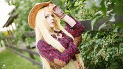 Size: 1600x900 | Tagged: safe, artist:bizzare deer, applejack, human, clothes, cosplay, costume, cowboy hat, cowboy vest, female, gloves, hat, irl, irl human, photo, shirt, stetson, wig