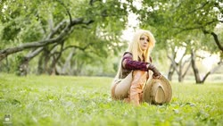 Size: 1600x900 | Tagged: safe, artist:bizzare deer, applejack, human, boots, clothes, cosplay, costume, cowboy boots, cowboy hat, cowboy vest, female, gloves, hat, irl, irl human, photo, shirt, shoes, shorts, stetson, wig