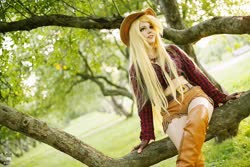Size: 1600x1066 | Tagged: safe, artist:bizzare deer, applejack, human, boots, clothes, cosplay, costume, cowboy boots, cowboy hat, female, gloves, hat, irl, irl human, photo, shirt, shoes, shorts, stetson, wig
