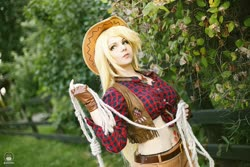 Size: 1600x1066 | Tagged: safe, artist:bizzare deer, applejack, human, clothes, cosplay, costume, cowboy hat, cowboy vest, female, gloves, hat, irl, irl human, photo, rope, shirt, shorts, stetson, wig