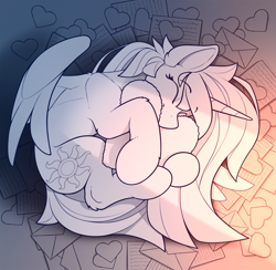 Size: 1800x1760 | Tagged: safe, artist:yakovlev-vad, princess celestia, curled up, heart, heart pillow, holiday, pillow, solo, valentine's day