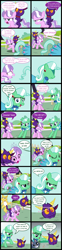 Size: 2000x8064 | Tagged: safe, artist:magerblutooth, diamond tiara, oc, oc:aunt spoiled, oc:dazzle, oc:il, oc:peal, cat, earth pony, imp, mouse, pony, comic:diamond and dazzle, comic