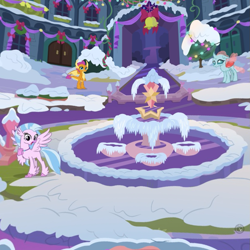 Size: 895x895 | Tagged: safe, ocellus, silverstream, smolder, changedling, changeling, classical hippogriff, dragon, hippogriff, bell, christmas decoration, courtyard, female, fountain, frozen, gameloft, outdoors, school of friendship, snow, winter