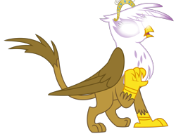 Size: 2703x2069 | Tagged: safe, artist:sketchmcreations, edit, vector edit, gilda, griffon, the fault in our cutie marks, big crown thingy, element of magic, glowing eyes, jewelry, open mouth, princess gilda, raised claw, regalia, simple background, solo, surprised, transparent background, vector