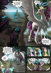 Size: 3541x5016 | Tagged: safe, artist:alexvanarsdale, artist:lummh, princess skystar, queen novo, classical hippogriff, hippogriff, comic:twist of faith, my little pony: the movie, absurd resolution, airship, armor, background hippogriff, cloud, comic, dark clouds, female, fledgeling, hippogriffia, male, mount aris, ocean, speech bubble, storm king's emblem, storm king's ship, unnamed hippogriff