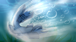 Size: 3840x2160 | Tagged: safe, artist:featherfly, oc, oc:blue wing, pegasus, pony, bubble, diving, high res, solo, water