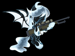 Size: 1292x964 | Tagged: safe, artist:kannakiller, oc, oc only, oc:winter's night, bat pony, pony, armor, bat pony oc, black background, ethereal mane, eyes closed, female, flying, gun, hoof shoes, hug, mare, rifle, scar, simple background, sniper rifle, solo, starry mane, weapon, ych result