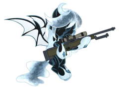 Size: 1292x964 | Tagged: safe, alternate version, artist:kannakiller, oc, oc only, oc:winter's night, bat pony, pony, armor, bat pony oc, ethereal mane, eyes closed, female, flying, gun, hoof shoes, hug, mare, rifle, scar, simple background, sniper rifle, solo, starry mane, weapon, white background, ych result