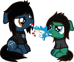 Size: 752x631 | Tagged: safe, artist:lightningbolt, derpibooru exclusive, earth pony, pony, .svg available, 5-year-old, angry, blank flank, bring me the horizon, brothers, clothes, colt, duo, fight, floppy ears, male, mouth hold, oliver sykes, plushie, ponified, pulling, shirt, siblings, simple background, sitting, sonic the hedgehog, sonic the hedgehog (series), svg, t-shirt, tom sykes, transparent background, vector, younger