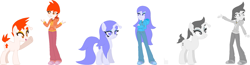 Size: 2103x545 | Tagged: safe, artist:legacy-galaxy, oc, oc only, oc:apathia, oc:discentia, oc:karma, alien, pony, unicorn, equestria girls, alternate design, alternate hairstyle, base used, clothes, cutie mark, fangs, female, hoodie, mare, ponified, reddit, redesign