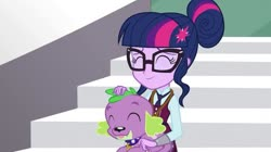 Size: 739x415 | Tagged: safe, screencap, sci-twi, spike, spike the regular dog, twilight sparkle, dog, equestria girls, friendship games, cute, female, male, spikabetes, twiabetes
