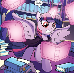 Size: 953x941 | Tagged: safe, idw, twilight sparkle, alicorn, pony, spoiler:comic, spoiler:comic44, comic, cropped, glowing horn, horn, magic, ponies of dark water, speech bubble, twilight sparkle (alicorn), tyrant sparkle