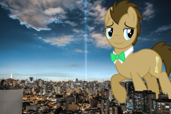 Size: 2048x1365 | Tagged: safe, artist:dashiesparkle, artist:jerryakiraclassics19, doctor whooves, time turner, pony, big pony, brazil, building, centro, city, giant pony, highrise ponies, irl, macro, male, mega giant, photo, ponies in real life, raised hoof, stallion