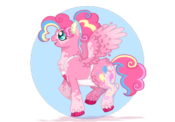 Size: 1000x700 | Tagged: safe, artist:data-dork, pinkie pie, pegasus, pony, leak, spoiler:g5, coat markings, female, g5, hooves, mare, pegasus pinkie pie, pinkie pie (g5), race swap, raised hoof, redesign, simple background, smiling, solo, spread wings, transparent background, wings