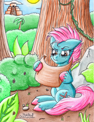 Size: 1688x2187 | Tagged: safe, artist:the1king, oc, oc only, earth pony, pony, boulder, confused, freckles, jungle, lost, map, rock, solo, temple, tree, vine