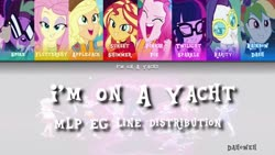 Size: 1280x720 | Tagged: safe, applejack, fluttershy, pinkie pie, rainbow dash, rarity, sci-twi, spike, spike the regular dog, sunset shimmer, twilight sparkle, dog, equestria girls, i'm on a yacht, spring breakdown, spoiler:eqg series (season 2), humane five, humane seven, humane six