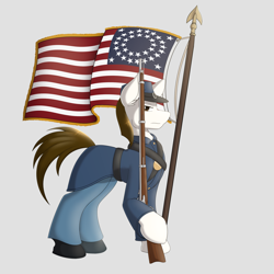Size: 2000x2000 | Tagged: safe, artist:silverfox057, oc, oc only, oc:rough seas, earth pony, american civil war, civil war, flag, flag waving, gun, looking at you, musket, soldier, solo, stars and stripes, stoic, weapon
