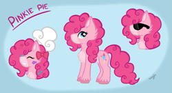 Size: 893x487 | Tagged: safe, artist:tannyfox, pinkie pie, earth pony, pony, leak, spoiler:g5, female, g5, hooves, mare, pinkie pie (g5), redesign, simple background, solo, sunglasses