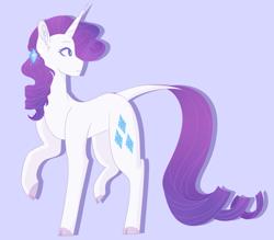 Size: 2501x2189 | Tagged: safe, artist:idoartz, rarity, pony, unicorn, leak, spoiler:g5, cloven hooves, female, g5, hooves, leonine tail, mare, raised hoof, rarity (g5), redesign, solo