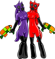 Size: 860x928 | Tagged: safe, artist:shennanigma, oc, oc only, oc:bass canon, oc:dream searcher, anthro, inkling, clothes, crossover, duo, female, gas mask, gloves, gun, latex, latex boots, latex gloves, latex suit, mask, rubber drone, simple background, splatoon, transparent background, weapon