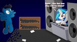 Size: 6000x3300 | Tagged: safe, artist:agkandphotomaker2000, dj pon-3, vinyl scratch, oc, oc:pony video maker, pegasus, pony, unicorn, against wall, canon x oc, dj booth, embarrassed, headphones, implied bass drop, paper, shelf, shocked expression, video tape, videoscratch, vinyl disc, wall damage