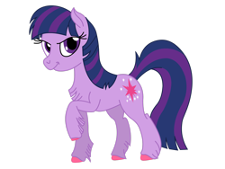 Size: 2828x2121 | Tagged: safe, artist:the-sonic-x, twilight sparkle, earth pony, pony, leak, spoiler:g5, chest fluff, earth pony twilight, female, fetlock tuft, g5, hooves, looking at you, mare, raised hoof, redesign, simple background, solo, transparent background, twilight sparkle (g5), unshorn fetlocks