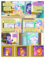 Size: 612x792 | Tagged: safe, artist:greatdinn, artist:newbiespud, edit, edited screencap, screencap, princess celestia, sunset shimmer, twilight sparkle, comic:friendship is dragons, equestria girls, equestria girls (movie), bust, clothes, collaboration, comic, crown, cutie mark, cutie mark on clothes, desk, dialogue, eyes closed, female, jewelry, microphone, portrait, principal celestia, regalia, screencap comic, sitting, writing