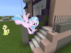 Size: 2048x1536 | Tagged: safe, artist:cheezedoodle96, artist:vector-brony, edit, editor:topsangtheman, golden glitter, silverstream, crystal pony, hippogriff, pony, looking at you, mansion, minecraft, stairs, that hippogriff sure does love stairs, truck