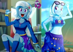 Size: 1429x1024 | Tagged: safe, artist:the-butch-x, edit, editor:thomasfan45, trixie, human, equestria girls, equestria girls series, barrette, beach, beach babe, belly button, bikini, blushing, book, breasts, busty trixie, butch's hello, canterlot high, chair, clothes, collarbone, crepuscular rays, cute, cutie mark, cutie mark on clothes, diatrixes, ear blush, equestria girls logo, female, hairclip, happy, hello x, hoodie, jacket, kneesocks, library, looking at you, midriff, minidress, open mouth, pointing at self, raised eyebrow, sarong, schrödinger's pantsu, sexy, sitting, skirt, sky, smiling, socks, solo, sunglasses, swimsuit, thighs