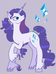 Size: 768x1024 | Tagged: safe, artist:globug100art, rarity, pony, unicorn, female, g5, g5 concept leak style, hooves, mare, raised hoof, rarity (g5), redesign, simple background, solo