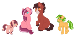 Size: 1600x781 | Tagged: safe, artist:handlz, oc, oc only, oc:big redd, oc:cinnamon crumble, oc:cortland, oc:orchid, earth pony, pony, blank flank, body freckles, colt, cousins, female, filly, freckles, male, offspring, parent:applejack, parent:big macintosh, parent:cheerilee, parent:red gala, parent:troubleshoes clyde, parents:cheerimac, parents:troublejack, simple background, transparent background