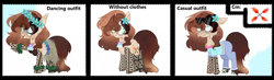 Size: 10096x2950 | Tagged: safe, artist:bublebee123, oc, oc only, oc:flashy flare, pony, unicorn, annoyed, bra, clothes, coconut, coconut bra, ear piercing, earring, eye clipping through hair, female, flower, flower in hair, food, freckles, grass, grass skirt, hawaiian, hawaiian flower in hair, hawaiian shirt, jeans, jewelry, lei, mare, open mouth, pants, piercing, raised hoof, sandals, seashell, seashell necklace, shirt, skirt, solo, sunglasses, tattoo, underwear