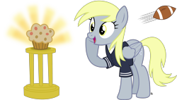 Size: 3581x2039 | Tagged: safe, artist:anime-equestria, derpy hooves, pegasus, american football, clothes, cute, female, food, football, happy, mare, muffin, shiny, shirt, simple background, solo, sports, transparent background, trophy, vector, wings