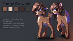 Size: 5760x3240 | Tagged: safe, artist:cherry pop, oc, oc only, oc:fudge brownie, deer, butt, cute, female, floppy ears, plot, reference sheet, subsurface scattering