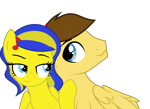 Size: 2210x1612   Tagged: safe, artist:indonesiarailroadpht, oc, oc only, oc:aspire bolt, oc:swivel starsong, pegasus, pony, couple, simple background, transparent background