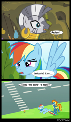 Size: 1288x2206 | Tagged: safe, edit, edited screencap, editor:teren rogriss, screencap, rainbow dash, spitfire, zecora, pegasus, pony, zebra, bridle gossip, newbie dash, clothes, comic, crosswalk, ear piercing, earring, episode needed, female, hooves, jewelry, lying down, mare, neck rings, open mouth, piercing, racism, screencap comic, spread wings, uniform, wings, wonderbolts, wonderbolts uniform, zebra crossing