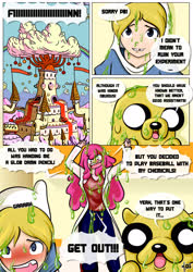 Size: 2480x3507 | Tagged: safe, artist:pixelboy, dog, human, comic:princess day off, adventure time, angry, barely pony related, blushing, castle, clothes, comic, dialogue, explosion, female, finn the human, jake the dog, lab coat, male, no pony, princess bubblegum