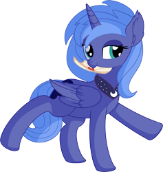 Size: 6402x6741 | Tagged: safe, artist:cyanlightning, princess luna, alicorn, pony, .svg available, absurd resolution, cute, ear fluff, female, folded wings, hearts and hooves day, holiday, letter, looking at you, love letter, lunabetes, mare, missing accessory, mouth hold, nom, s1 luna, simple background, smiling, solo, transparent background, valentine's day, vector, weapons-grade cute, wings