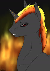 Size: 1280x1828 | Tagged: safe, artist:backlash91, oc, oc only, oc:shadowed ember, pony, unicorn, solo