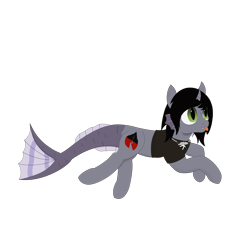 Size: 2000x1800 | Tagged: safe, artist:thekamko, derpibooru exclusive, half-siren, hybrid, pony, clothes, fangs, fins, fish tail, jewelry, kellin quinn, mlem, necklace, ponified, prone, scales, shirt, silly, simple background, smiling, solo, tongue out, transparent background