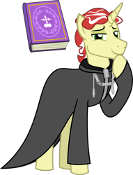 Size: 1732x2271 | Tagged: safe, artist:sketchmcreations, flim, unicorn, book, clothes, coat, hoof on chin, kingdom hearts, looking at you, male, missing accessory, nobody, organization xiii, raised hoof, simple background, smiling, stallion, transparent background, vector, zexion